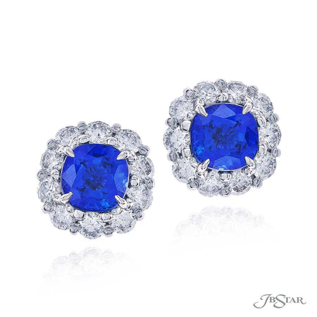 0783-039 Blue Cushion Cut Sapphire and Diamond Stud Earrings, Platinum, Front View