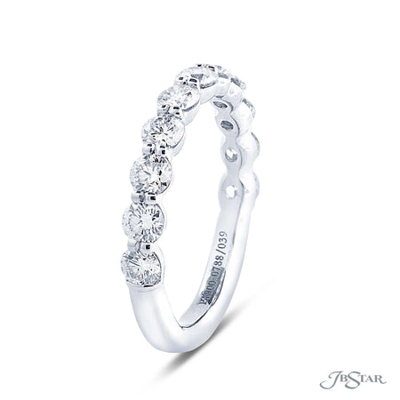 Beautiful diamond wedding band featuring 11 perfectly matched round diamonds in a shared prong setting. Handcrafted in pure platinum. [details] Stone Information SHAPE TYPE WEIGHT Round Diamond 1.25 ctw. [enddetails] | JB Star 0788-039 Anniversary & Wedding