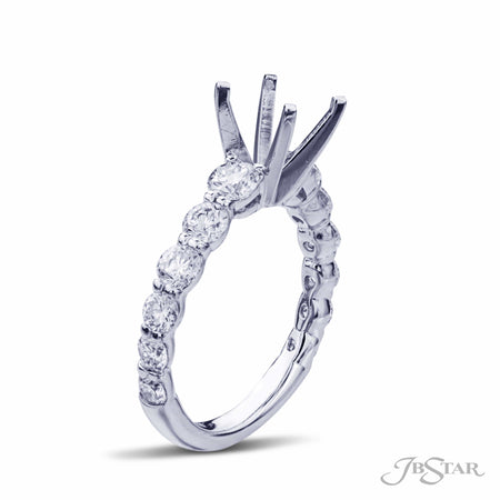 Platinum Engagement Ring Semi-Mount with 12 Graduated Round Diamonds Side View 0790-020