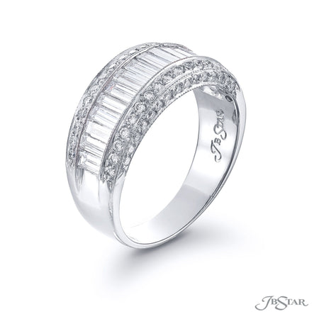 Stunning diamond wedding band featuring straight baguette diamonds in a center channel edged in micro pave. Handcrafted in pure platinum. [details] Stone Information SHAPE TYPE WEIGHT Straight Baguette Diamond 1.40 ctw. Round Diamond 0.44 ctw. [enddetails] | JB Star 0800-016 Anniversary & Wedding