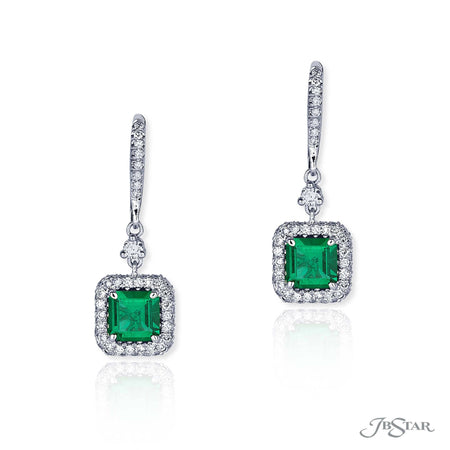Emerald Cut Emerald and Diamond Drop Earrings |  0814-023 Fancy Color Front View