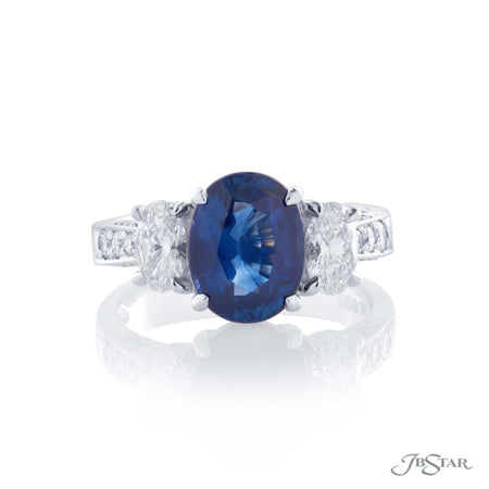 Platinum 2.66 ct Oval Blue Sapphire and Diamond Ring, 0818-096 top view