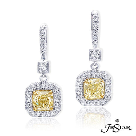 Gorgeous fancy yellow diamond earrings featuring stunning 1.44 ct. radiant fancy yellow diamonds embraced by round diamonds hung from princess-cut diamonds. Platinum. [details] Center Stone(s) SHAPE TYPE WEIGHT COLOR CLARITY Radiant Diamond 1.44 ct. Fancy Yellow Vs1 Stone Information SHAPE TYPE WEIGHT Princess Round Diamond Diamond 0.20 ct. 0.80 ct. [enddetails] | JB Star 0814-021 Earrings