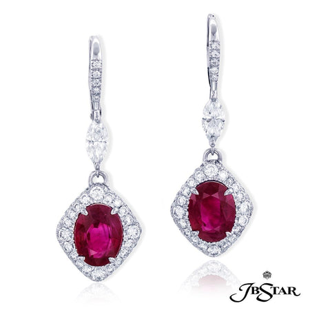 Oval Cut Burmese Rubies and Diamond Drop Earrings 0853-012 Fancy Color Front View