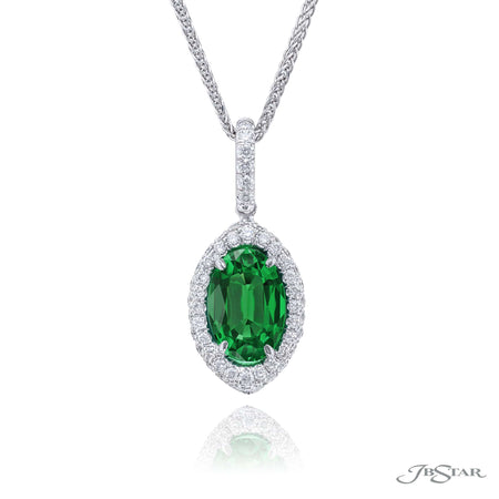 0853-014 | Emerald & Diamond Pendant Oval 2.01 ct. Micro Pave Setting