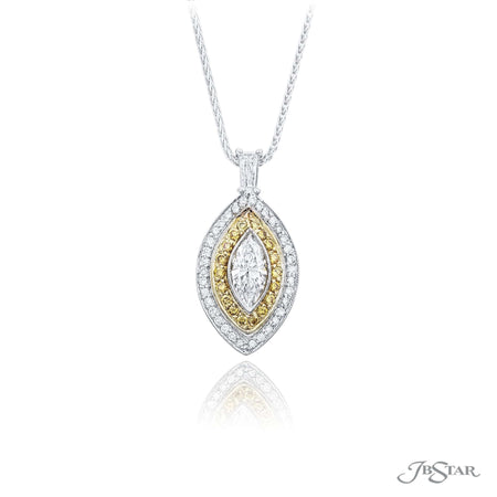 Stunning platinum and diamond pendant featuring a 0.71 ct. GIA certified marquise diamond center edged in white and fancy yellow round diamond pave, handcrafted in platinum and 18KY. [details] Center Stone(s) SHAPE TYPE WEIGHT COLOR CLARITY Marquise Diamond 0.71 ct. D SI1 Notes: GIA Stone Information SHAPE TYPE WEIGHT Round Round Fancy Yellow Diamond Diamond 0.42 ctw. 0.16 ctw. [enddetails] | JB Star 0883-001 Pendants