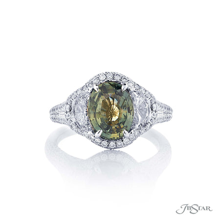 Platinum 2.44 ct Green Sapphire and Diamond Ring 0884-045 top view