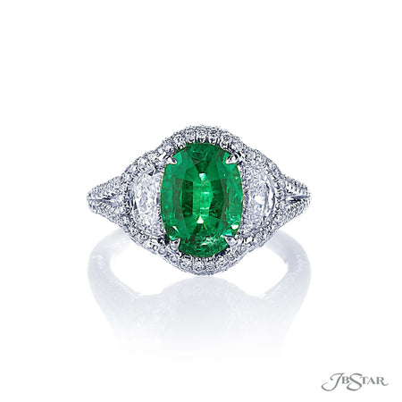 Stunning emerald and diamond ring featuring a 2.36 ct. oval emerald embraced by two half-moon diamonds in a micro pave halo setting. Handcrafted in pure platinum. [details] Center Stone(s) SHAPE TYPE WEIGHT Oval Emerald 2.36 ct. Stone Information SHAPE TYPE WEIGHT Half Moon Diamond 0.86 ctw. Round Diamond 1.06 ctw. [enddetails] | JB Star 0884-067 Precious Color Rings