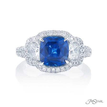 2.64 ct No-Heat Cushion Cut Blue Sapphire and Diamond Ring 0884-091 Top View