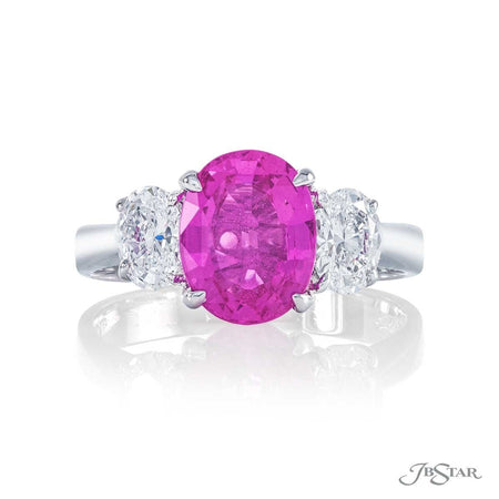 Platinum 2.41 ct. Oval Pink Sapphire and Diamond Ring  0913-048 top view