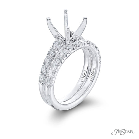 Gorgeous diamond wedding set featuring 10 round diamonds in a shared prong setting. Handcrafted in pure platinum. [details] Stone Information SHAPE TYPE WEIGHT Round Diamond Varies [enddetails] | JB Star 0940 Semi Mount Settings