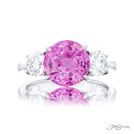 4.32 ct Round Pink Sapphire and Diamond Ring 0942-007 top view