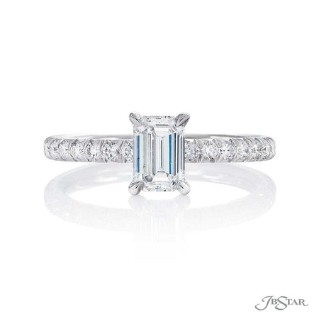 .82 ct Emerald Cut Diamond Engagement Ring Micro Pave Band