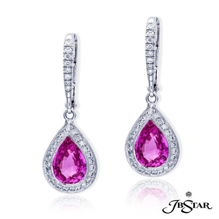 3.05 ct Pear Shape Pink Sapphire and Diamond Drop Earrings | 0969-035