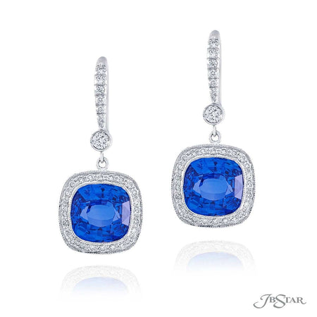 Cushion-Cut Blue Sapphire and Micro Pave Diamond Drop Earrings in Platinum 0969-060