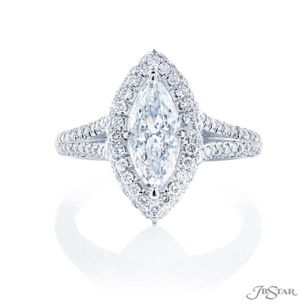 1 ct Marquise Diamond Halo Engagement Ring JBSTAR Jewelry