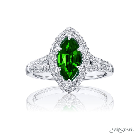 0974-233 | Emerald & Diamond Ring Marquise 0.98 ct Emerald Micro Pave Front View