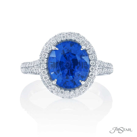 Platinum 4.22ct No Heat Oval Blue Sapphire and Diamond Ring 0974-271 top view