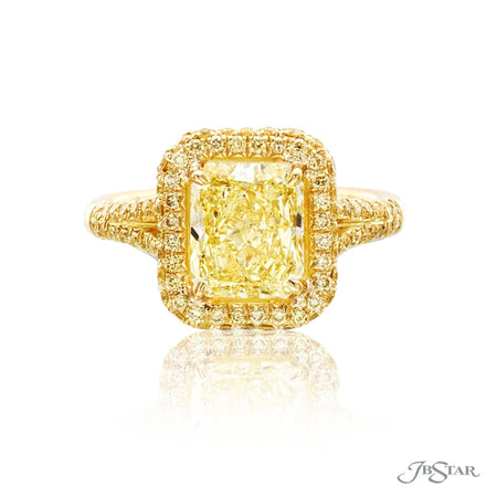 Gorgeous diamond engagement ring features a 2.38 ct. GIA certified radiant-cut fancy yellow diamond center edged in fancy yellow diamond micro pave. Handcrafted in 18KY gold. [details] Center Stone(s) SHAPE TYPE WEIGHT COLOR CLARITY Radiant Diamond 2.38 ct. Fancy Yellow SI1 Notes: GIA Stone Information SHAPE TYPE WEIGHT Round Fancy Yellow Diamond 0.77 ctw. [enddetails] | JB Star 0974-309 Diamond Centers & Engagement