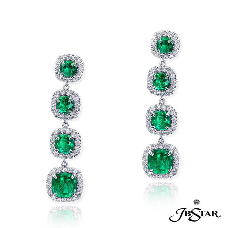 Cushion Cut Emeralds and Pave Diamond Drop Earrings | 0976-001 JBSTAR