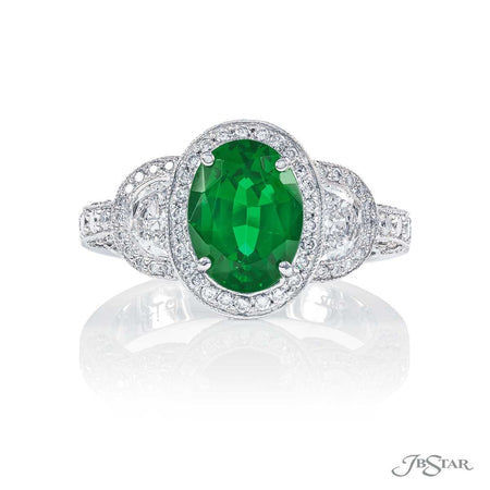 Dazzling green tourmaline and diamond ring featuring a 2.05 ct. oval green tourmaline embraced by half moon diamonds in a micro pave setting. Handcrafted in pure platinum. [details] Center Stone(s) SHAPE TYPE WEIGHT Oval Green Tourmaline 2.05 ct. Stone Information SHAPE TYPE WEIGHT Half Moon Diamond 0.49 ctw. Round Diamond 0.78 ctw. [enddetails] | JB Star 0984-008 Precious Color Rings