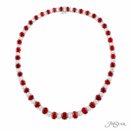 099-029 | Burmese Ruby & Diamond Necklace Oval 61.80 ctw.