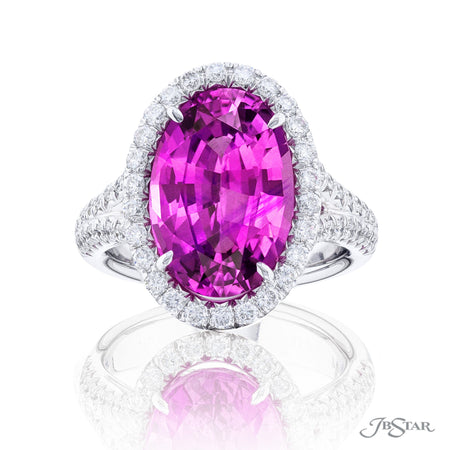 0990-005 | Pink Sapphire & Diamond Ring 8.20 ct Oval Cut GIA certified Front View