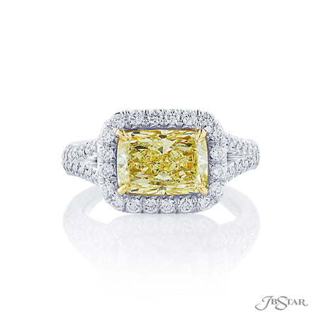 2.54 ct Cushion Cut Fancy Yellow Diamond Engagement Ring Micro Pave Halo