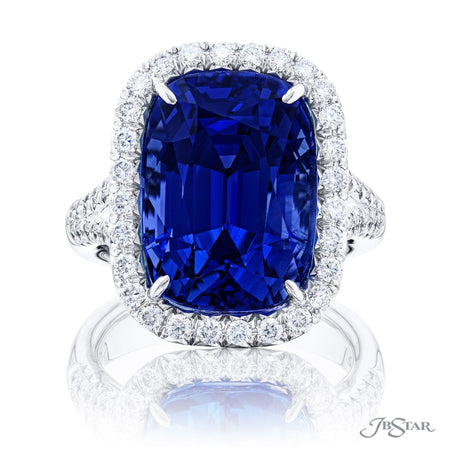 0990-007 | Sapphire & Diamond Ring 16.69 ct Cushion Cut GIA Certified Front View