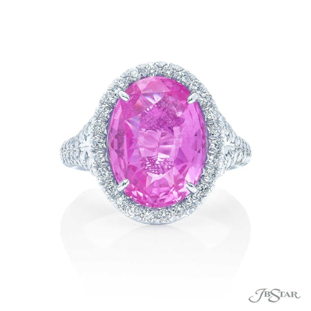 8.13 ct Oval Pink Sapphire and Diamond Ring | 0990-008 top view