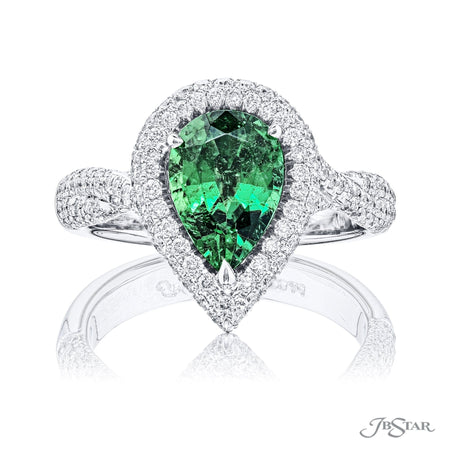 1.68 ct. Pear Shaped Paraiba and Micro Pave Halo Diamond Ring in Platinum | 0996-038 Top View