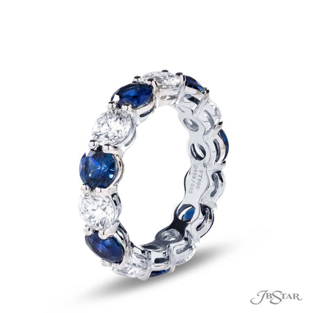 Platinum Round Blue Sapphire and Round Diamond Eternity Band 0998-020