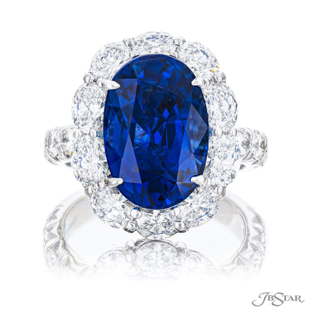 Stunning sapphire and diamond ring featuring a 8.23 ct. certified