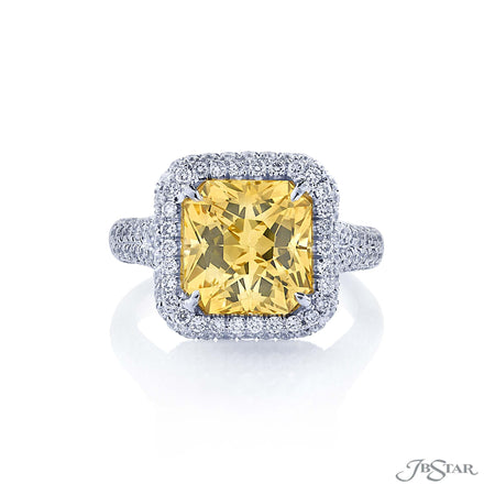 5.39 ct Radiant Cut Yellow Sapphire and Diamond Ring in Platinum | 1038-001 JBStar Top View