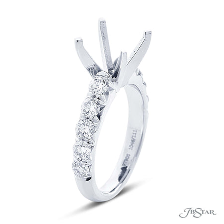 Semi Mount Engagement Ring, 10 Round Diamonds 0.98 ctw 1046-111 Side View
