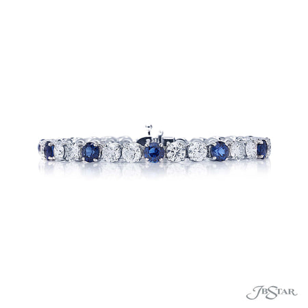 Platinum diamond and sapphire bracelet featuring 11 round sapphires and 23 round diamonds [details] Center Stone(s) SHAPE TYPE WEIGHT Round Cut Sapphire 7.90 ct. Stone Information SHAPE TYPE WEIGHT Round Cut Diamond 9.47 ct. [enddetails] | JB Star 1056-003 Bracelets