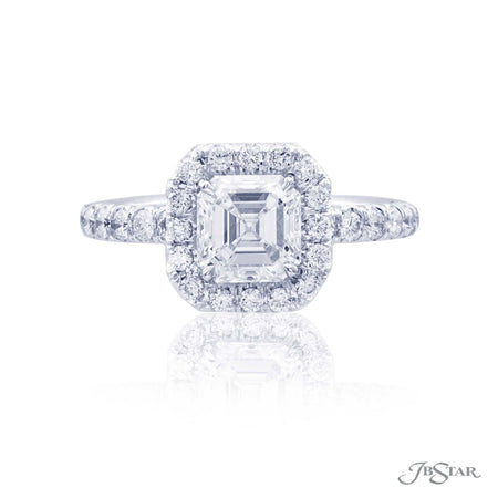 1.44 ct Emerald Cut Diamond Engagement Ring in Platinum Micro Pave Halo Setting