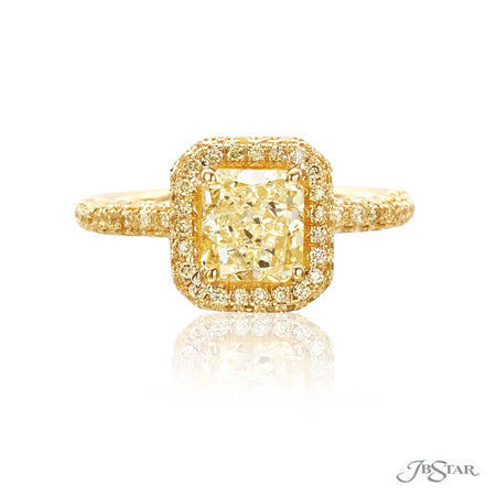 Stunning fancy yellow diamond engagement ring featuring a 1.52 ct. GIA Certified fancy yellow radiant-cut diamond in micro pave setting. Handcrafted in 18KY gold. [details] Center Stone(s) SHAPE TYPE WEIGHT COLOR CLARITY Radiant Diamond 1.52 ct. Fancy Yellow SI1 Notes: GIA Stone Information SHAPE TYPE WEIGHT Round Fancy Yellow Diamond 0.60 ctw. [enddetails] | JB Star 1061-029 Diamond Centers & Engagement