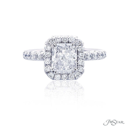 Platinum 1.72 ct Radiant Cut Diamond Engagement Ring with Micro Pave Halo and Band