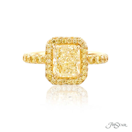 18K Yellow Gold 2.11 ct Radiant Cut Fancy Yellow Diamond Ring with Fancy Yellow Micro Pave Accents