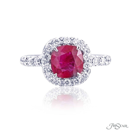 Beautiful ruby and diamond ring featuring a 1.56 ct. cushion cut Burma ruby enhanced by round diamonds. Handcrafted in platinum. [details] Center Stone(s) SHAPE TYPE WEIGHT Cushion Ruby 1.56 ct. Stone Information SHAPE TYPE WEIGHT Round Diamond 0.72 ctw. [enddetails] | JB Star 1061-082 Precious Color Rings