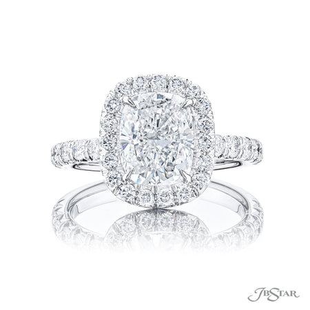 Platinum Diamond Engagement Ring 1.56 ct Cushion Cut with Micro Pave Halo