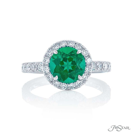 Gorgeous emerald and diamond ring featuring a 1.73 ct. round emerald in a beautiful round pave setting. Handcrafted in pure platinum. [details] Center Stone(s) SHAPE TYPE WEIGHT Round Emerald 1.83 ct. Stone Information SHAPE TYPE WEIGHT Round Diamond 0.78 ctw. [enddetails] | JB Star 1061-127 Precious Color Rings