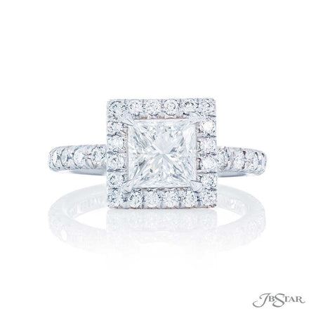 1.24 ct Princess Cut Diamond Engagement Ring with Micro Pave Halo