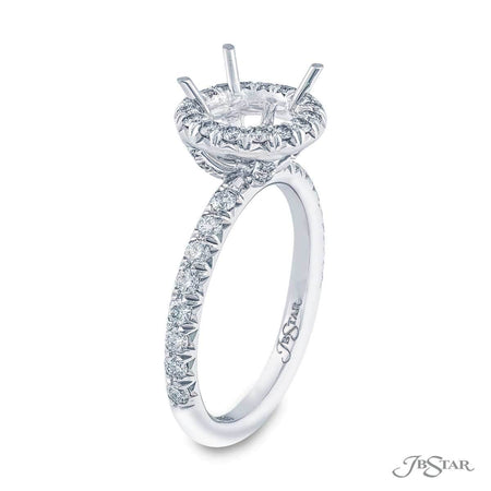 Gorgeous diamond semi-mount in a round diamond micro pave halo setting. Handcrafted in pure platinum. [details] Stone Information SHAPE TYPE WEIGHT Round Diamond 0.60 ctw. [enddetails] | JB Star 1061-138 Semi Mount Settings