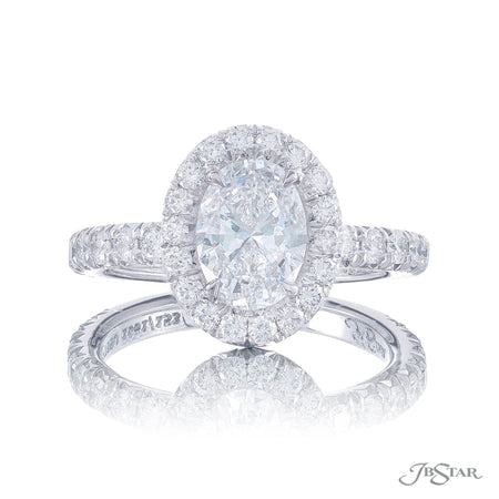1061-152 | Diamond Engagement Ring Oval Cut Micro Pave GIA certified Front View