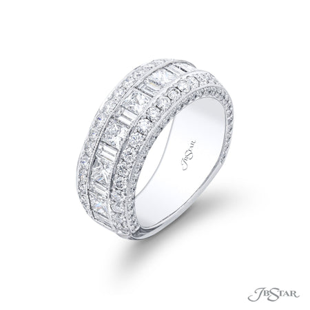 1065-052 | Diamond Wedding Band Princess & Straight Baguettes 4.89 ctw Side View