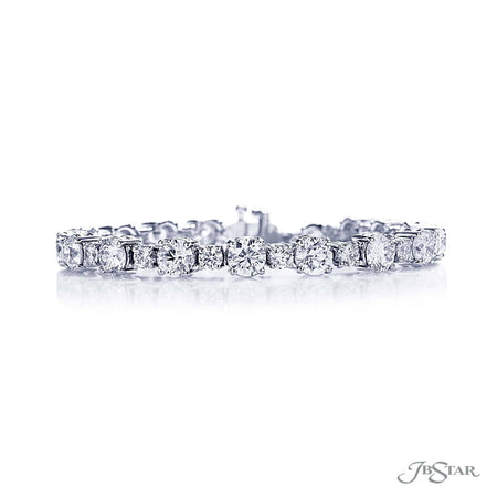 Gorgeous diamond bracelet featuring round diamonds in a shared prong setting. Handcrafted in pure platinum. [details] Stone Information SHAPE TYPE WEIGHT Round Diamond 15.05 ctw. [enddetails] | JB Star 1067-004 Bracelets