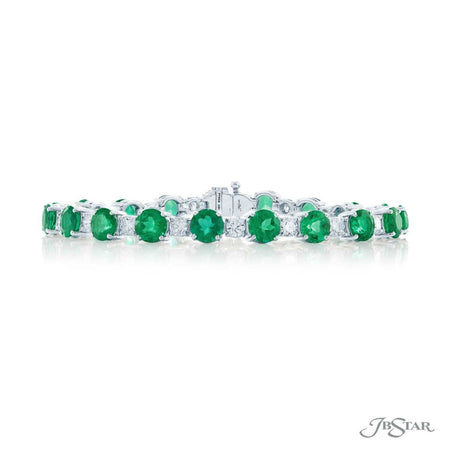 Dazzling emerald and diamond bracelet featuring round emerald diamonds in an alternating design with round diamonds. Handcrafted in pure platinum. [details] Stone Information SHAPE TYPE WEIGHT Round Emerald 14.45 ctw. Round Diamond 3.01 ctw. [enddetails] | JB Star 1067-009 Bracelets