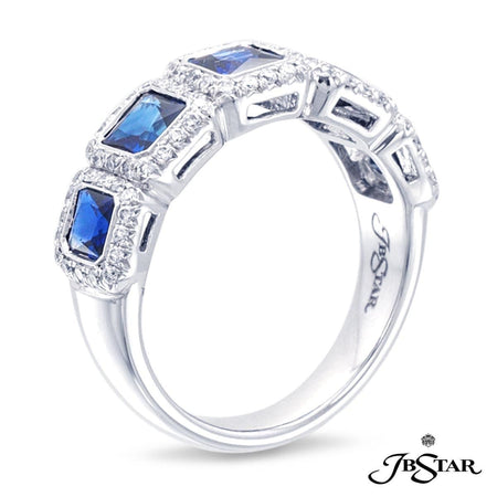 Sapphire and diamond band handcrafted with 5 perfectly matched princess-cut blue sapphires, each encircled with diamond pave and set in platinum. [details] Stone Information SHAPE TYPE WEIGHT Princess Round Sapphire Diamond 1.84 ctw. 0.37 ctw. [enddetails] | JB Star 1074-003 Anniversary & Wedding